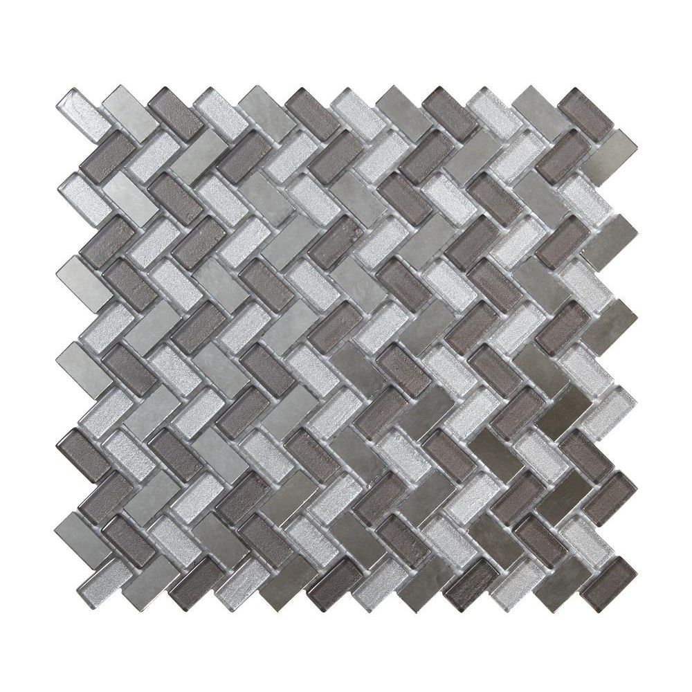Dusk Grey Tile: Dusk Grey Herringbone Glass & Mirror Mosaic