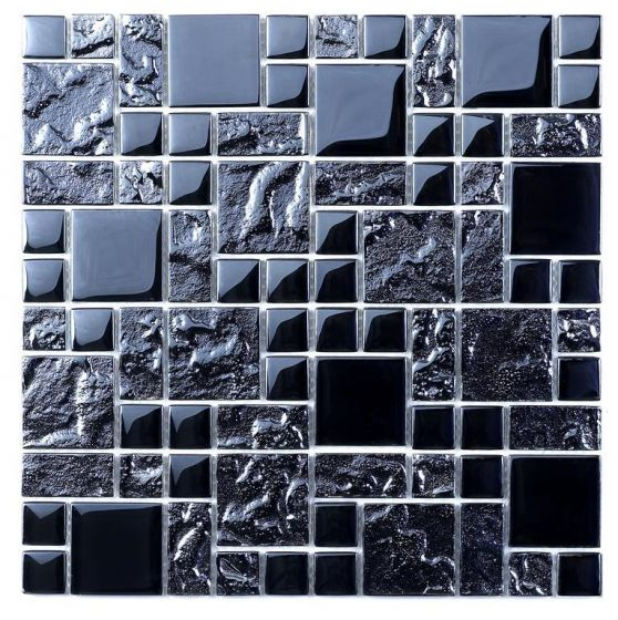 Black Reflective Mix Glass Modular Mosaic