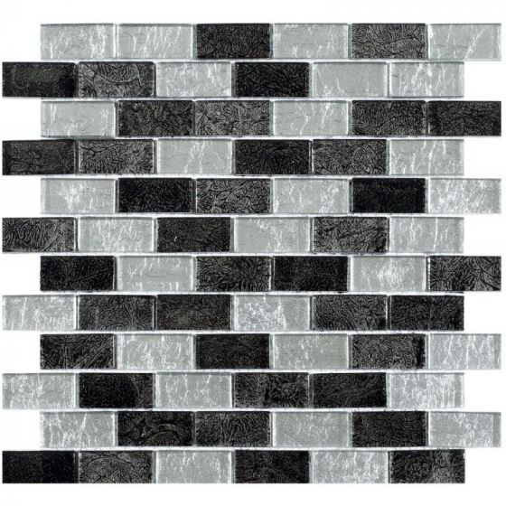 Silver Black Leaf Glass Brick Mosaic