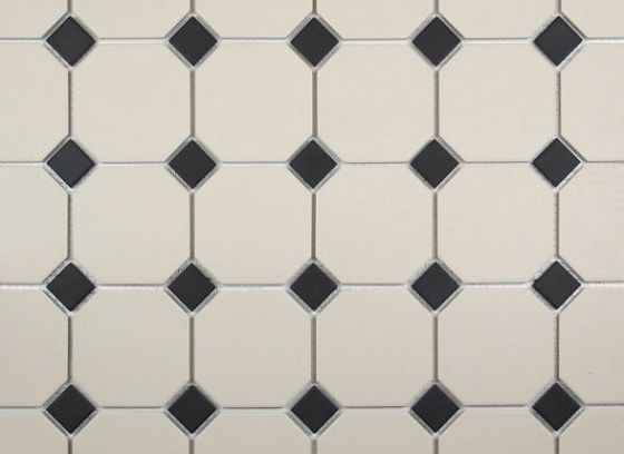 Victorian Octagon White and Black Dot 296x296 Mosaic