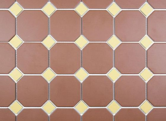 Victorian Octagon Red with Mustard Dot 296x296 Mosaic
