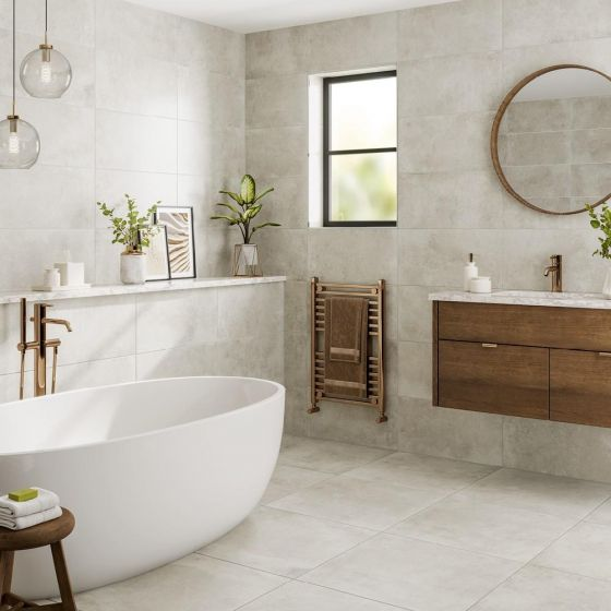 Tectonic White Porcelain Tile 600x600