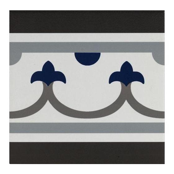 Pamplona Straight Border Black, White & Blue 200x200