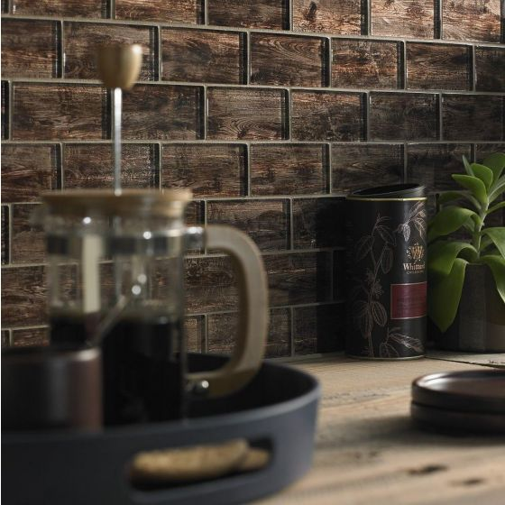 Forest Brown Wood Effect Glass Mosaic