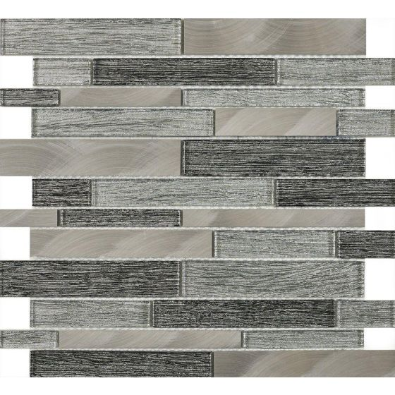 Ashby Grey Glass & Metal Mix Offset Mosaic