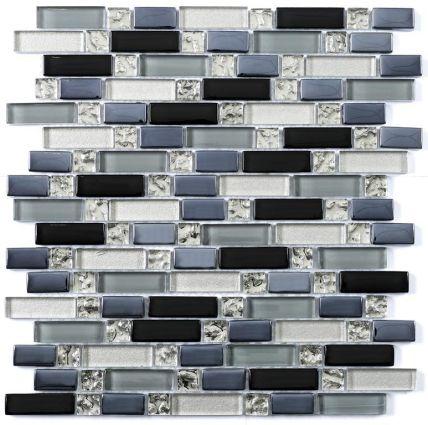 Silver Glass Blue Mix Random Length