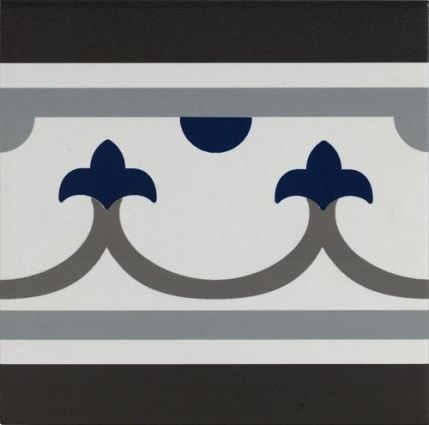 Pamplona Straight Border Black, White & Blue 200x200
