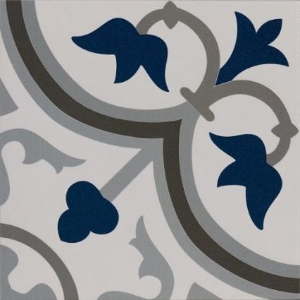 Pamplona Black, White & Blue Pattern 200x200