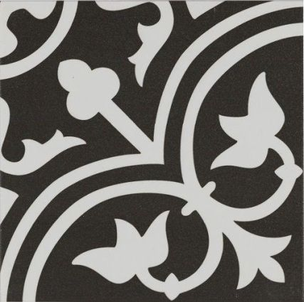 Pamplona White on Black Pattern 200x200