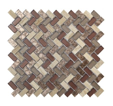Pence Copper Herringbone Glass Mosaic