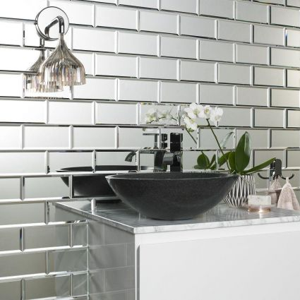 Lumiere Bevel Mirror Brick Mosaics