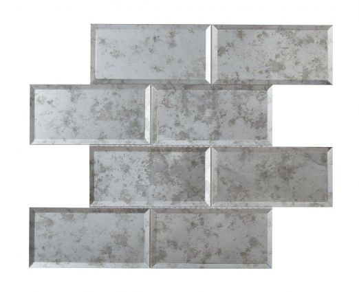 Luminere Bevel Antique Mirror Brick Mosaic