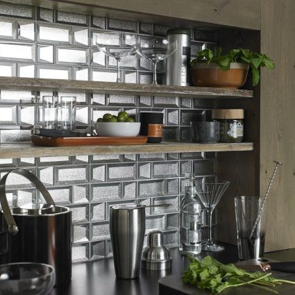 Dimensions Silver 3D Glass Mixed Mosaics