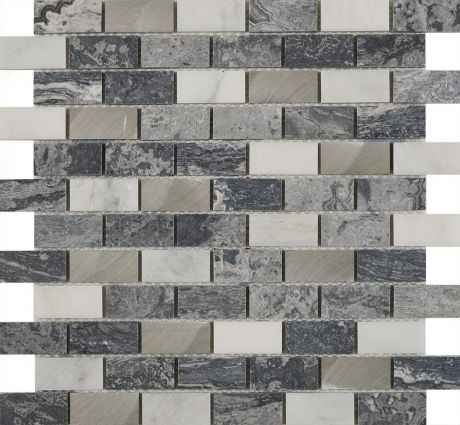 Castell Grey Stone & Metal Mix Brick Mosaic