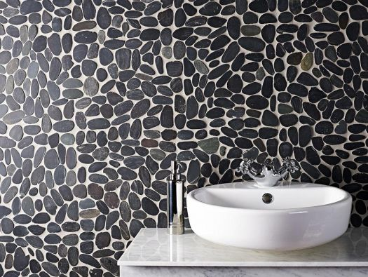Riverstone Black Flat Cut Pebble Mosaic