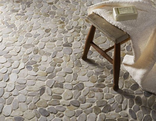 Riverstone White Flat Cut Pebble Mosaic