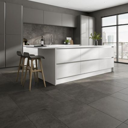 Tectonic Graphite Porcelain Tile 600x600