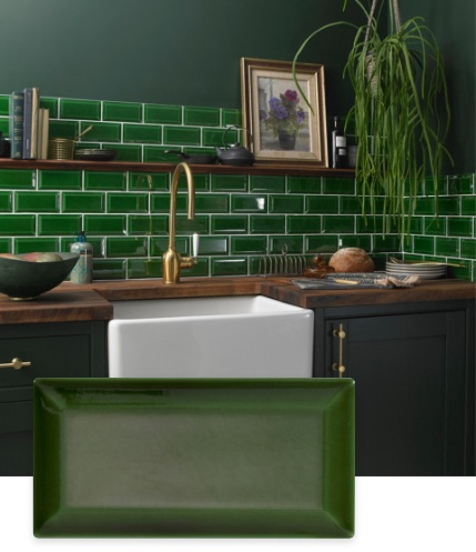 Bevel Vintage Green Victoria Baths Tile | Tilegiant.co.uk