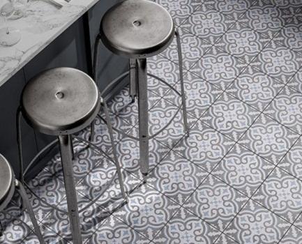Ornamental Patterned Kitchen Floor Tile