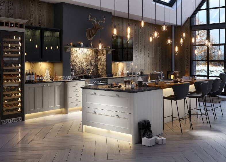 Contrasting Light And Dark Kitchen