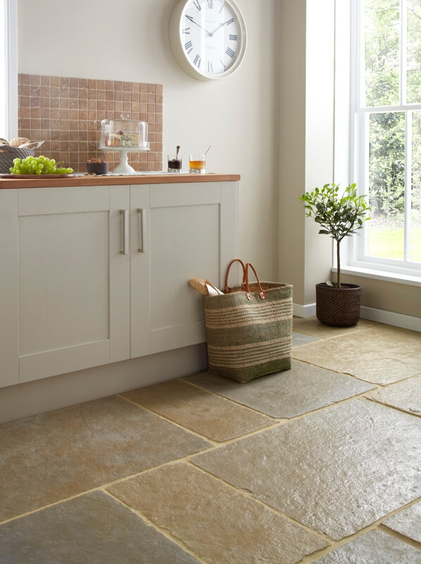 Coniston Limestone Tiles with wide joints.