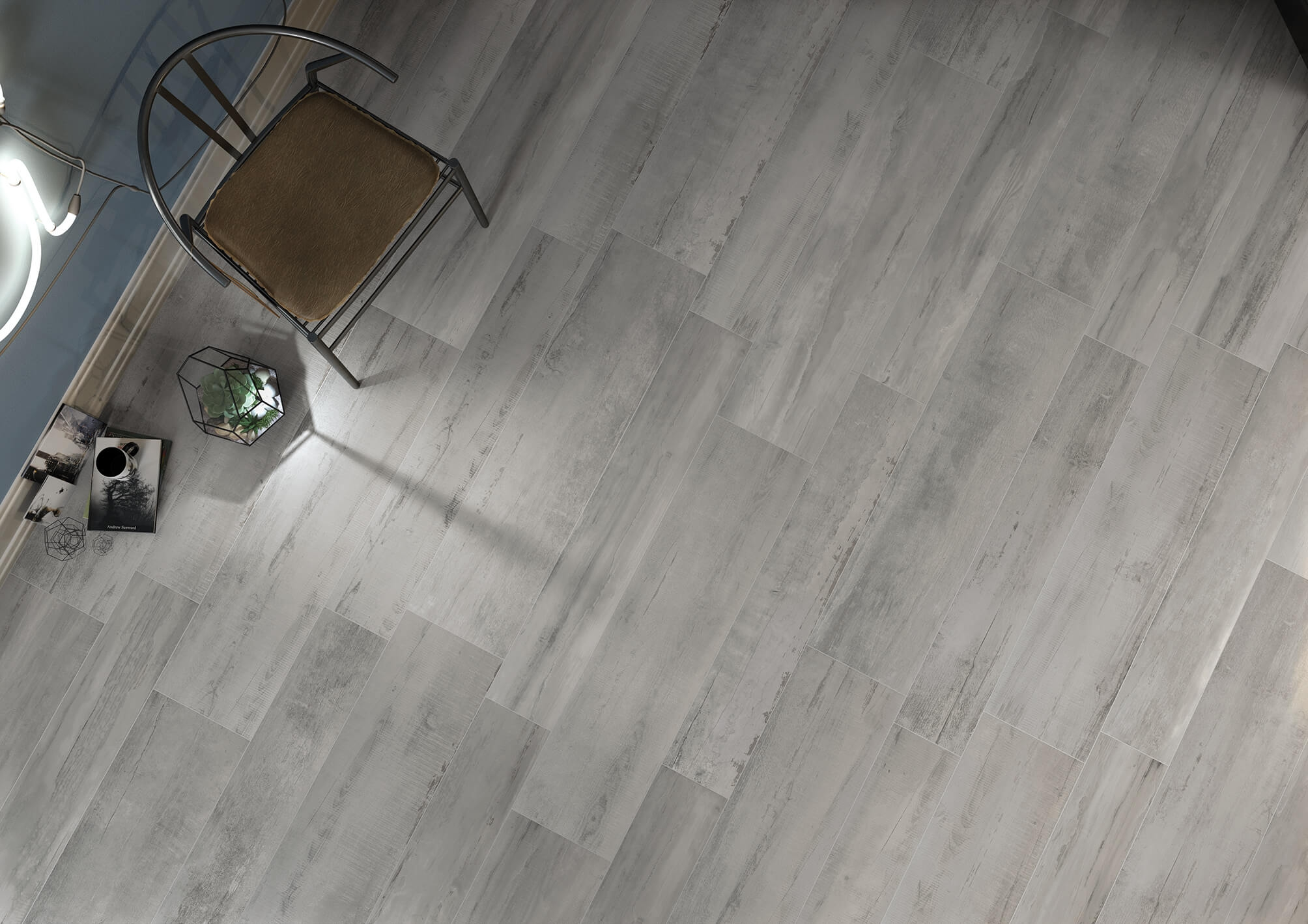 Umbra Grey Tiles in a random bond effect.