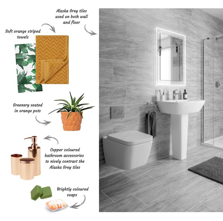 Accessorising your bathroom with Alaska Grey tiles