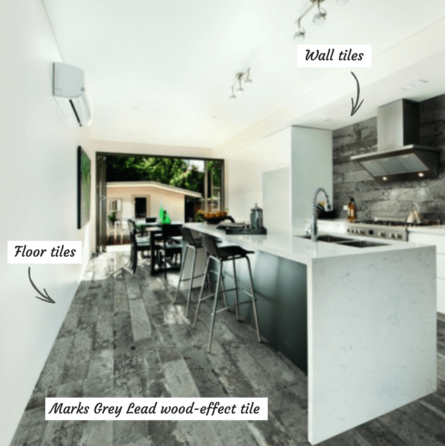 Marks Grey Lead wood-effect tiles