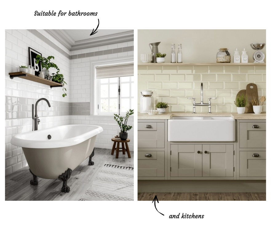 Metro wall and floor tiles for bathroom and kitchen