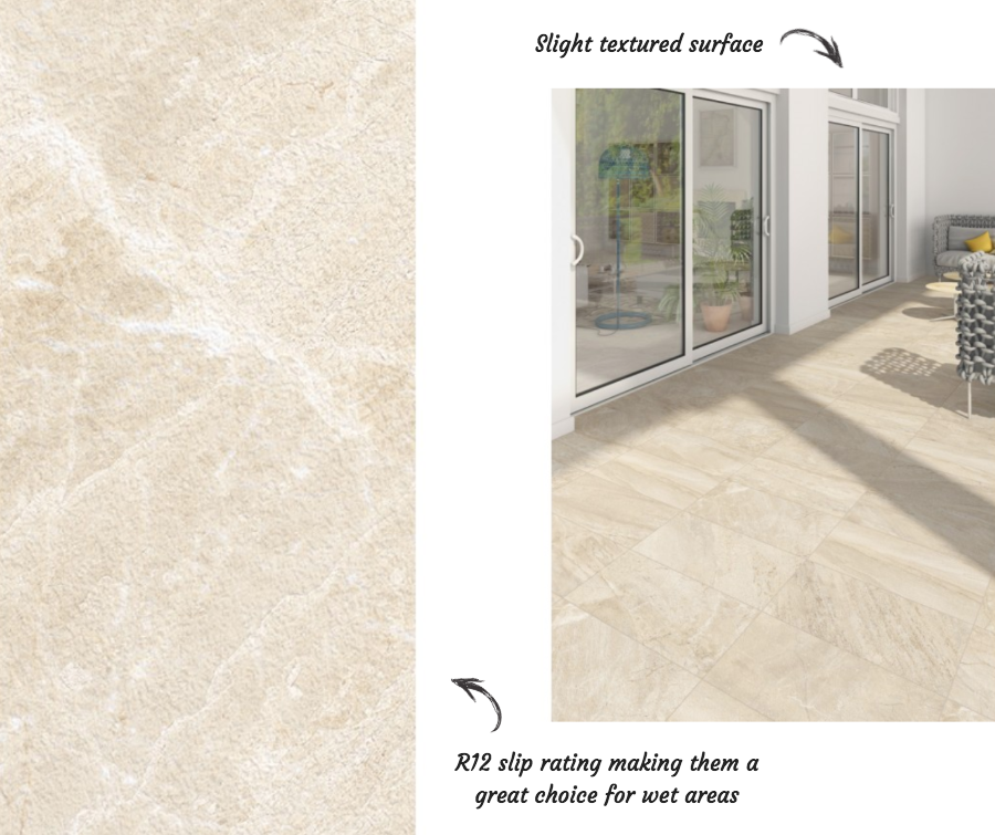 Flysch Beige Porcelain Wall and Floor Tile