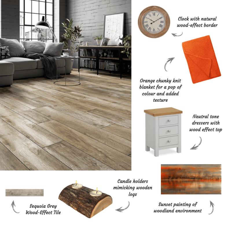 Styling Sequioa wood effect tiles in the living room