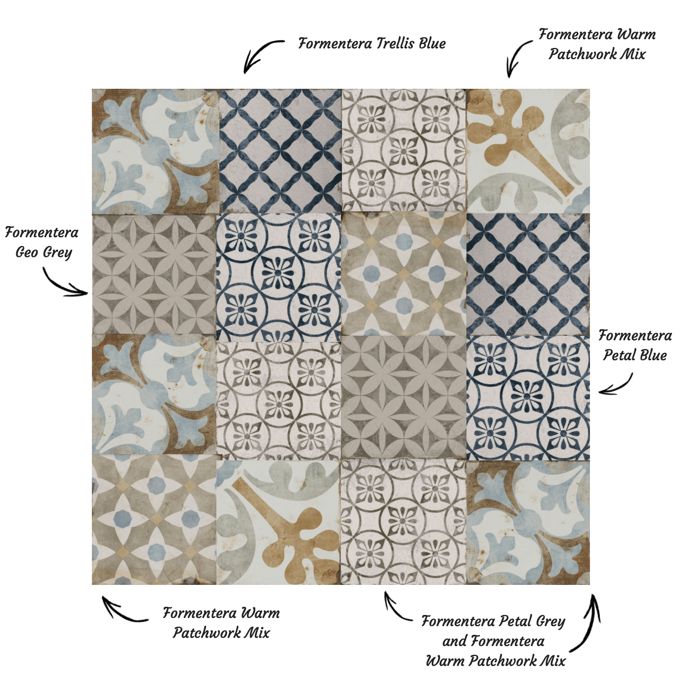 Collage of Formentera Tiles from Tile Giant