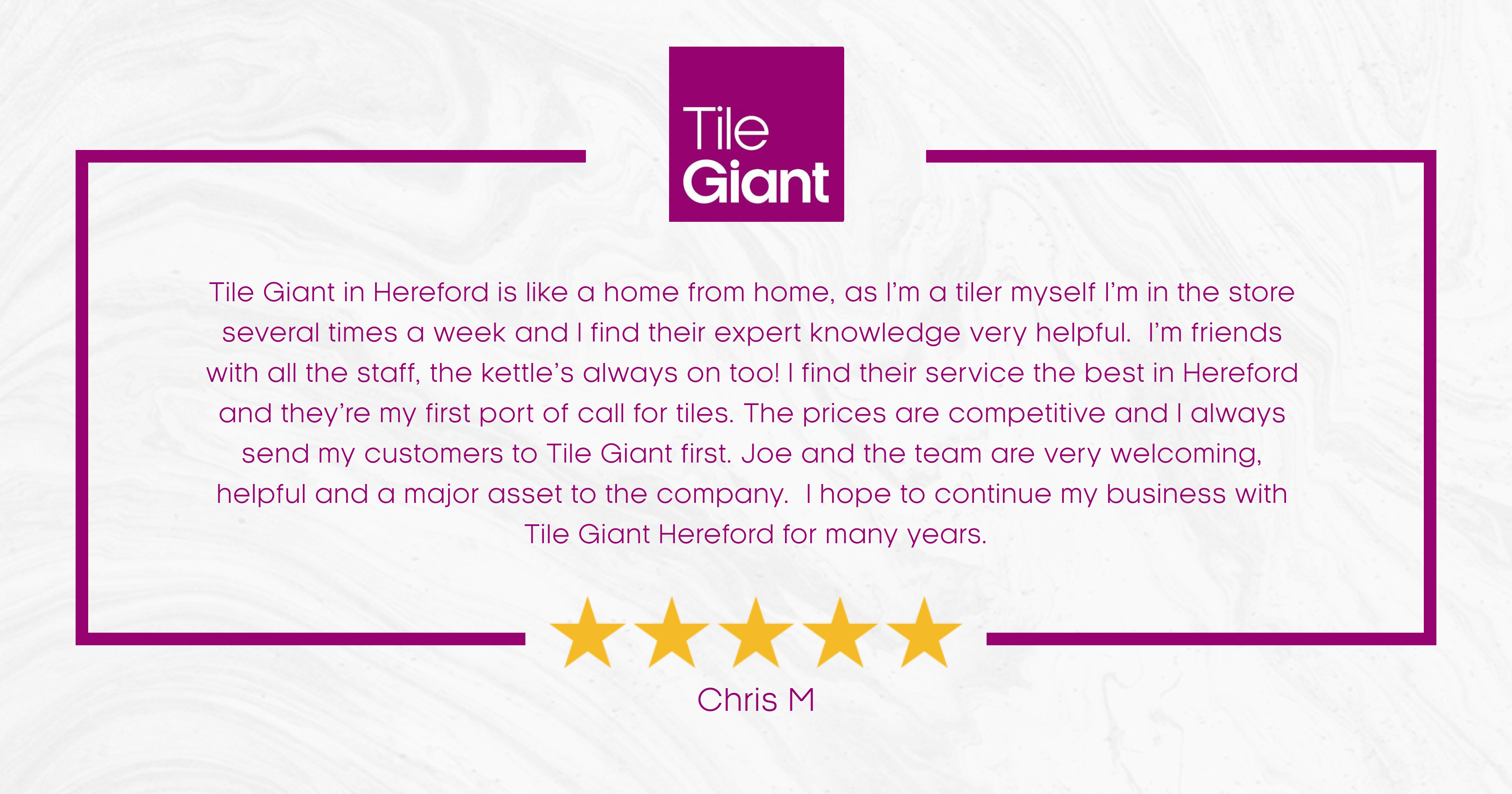 Tile Giant Store of the Month testimonial