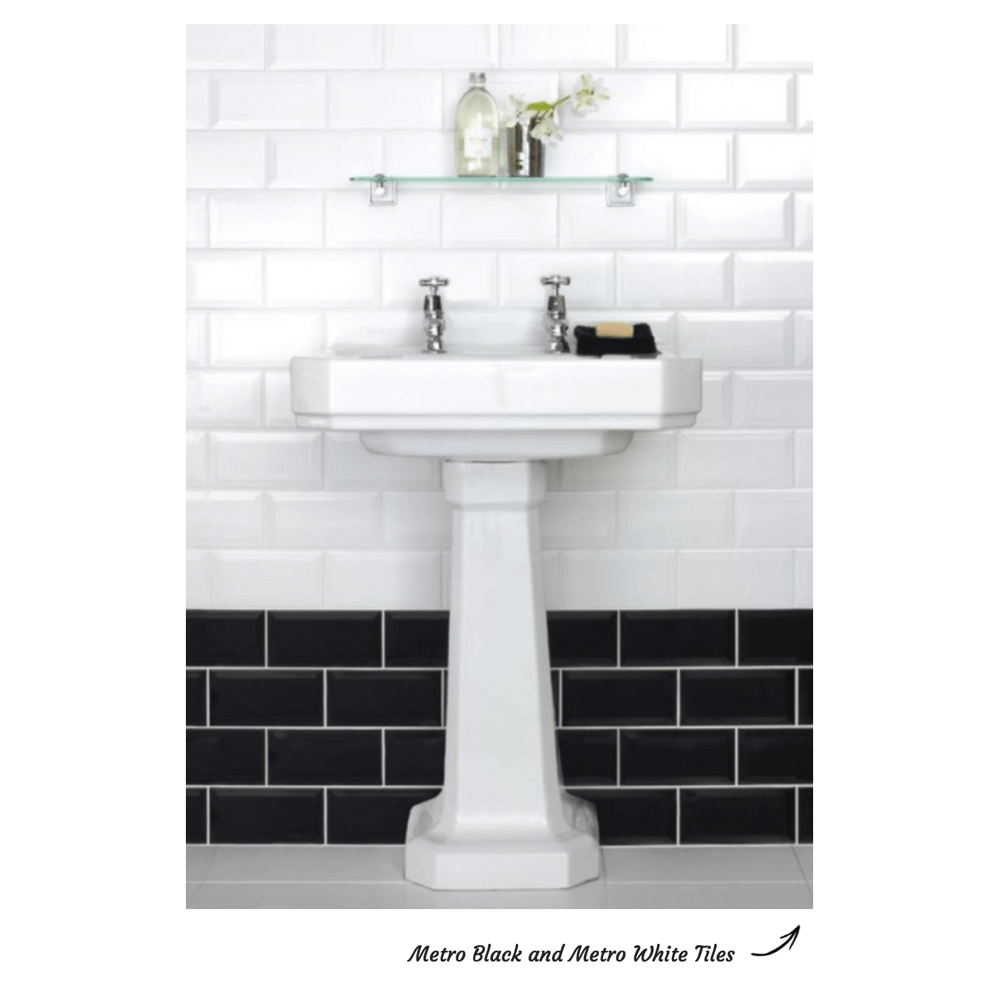 Metro Black and White Brick Bond Pattern